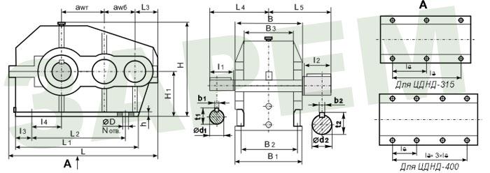 Габаритные и присоединительные размеры ЦДНД-200 ЦДНД-315 ЦДНД-400