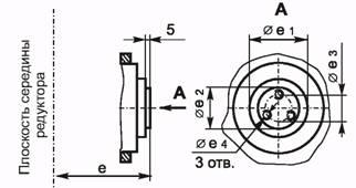 Размеры конца тихоходного вала для присоединения приборов и автоматики