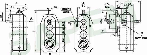 Габаритные и присоединительные размеры редукторовв разъемных корпусах