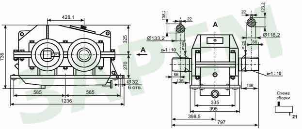 1100 (1300).  Назначение: Редуктор цилиндрический одноступенчатый горизонтальный с шевронной шлифованной зубчатой...